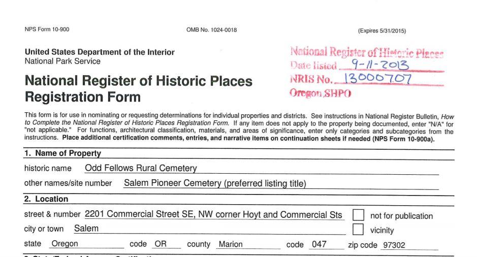 National Register Nomination for Salem Pioneer Cemtery